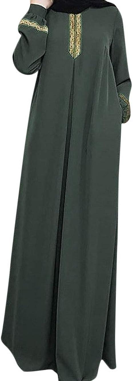 beautyjourney Vestido Maxi musulmán árabe, Vestido Largo Ocasional de Las señoras de Gran tamaño Vestidos Elegantes de Manga Larga Vintage Suéter Camisa Casual Blusa: Amazon.es: Ropa y accesorios