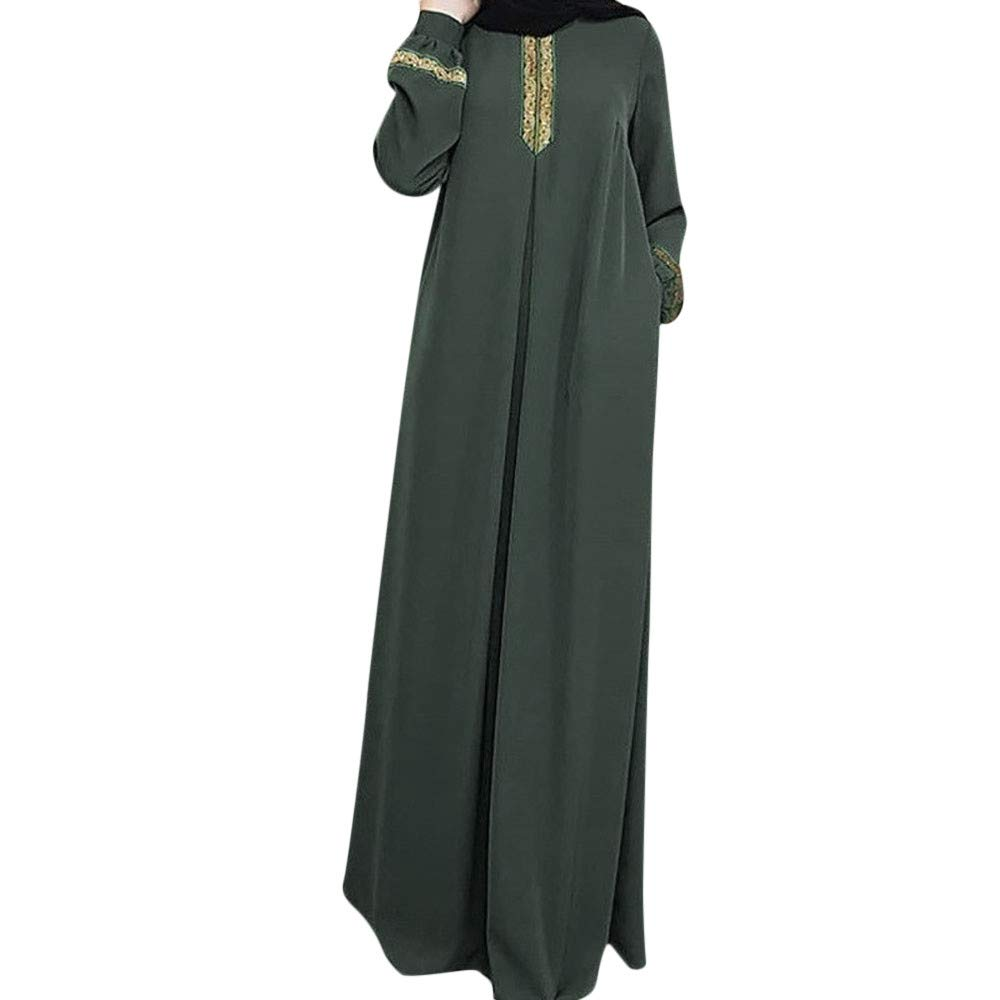Kaftan Long Dress For Women, Lady Plus Size Abaya Jilbab Muslim Maxi Dress Solid Loose Kaftan Long Dress YOcheerful