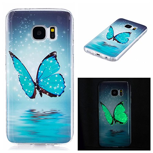 S7 Case, Galaxy S7 Case, Love Sound Luminous Noctilucent Glow in the Dark Case [Drop Protection] [Shock Absorbent] Premium Flexible Soft TPU Shell Case for Samsung Galaxy S7 (Blue Butterfly)
