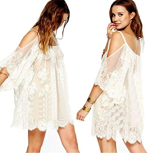 Elevin(TM)Women Vintage Hippie Boho People Embroidered Floral Lace Crochet Mini Dress (M, White)