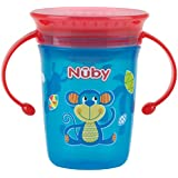 Nuby No-Spill 360 Degree Wonder Cup Twin Handle Cup 240 ml Capacity, Assorted Color