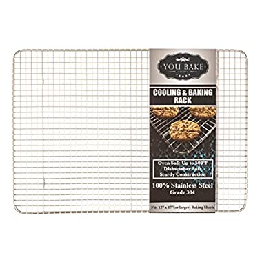 You Bake Cooling Rack - 304 Stainless Steel, Oven and Dishwasher Safe. Also Great for Baking, Smoking, Grilling, and Roasting. Made for 12 x17  Baking Sheets and Pans.