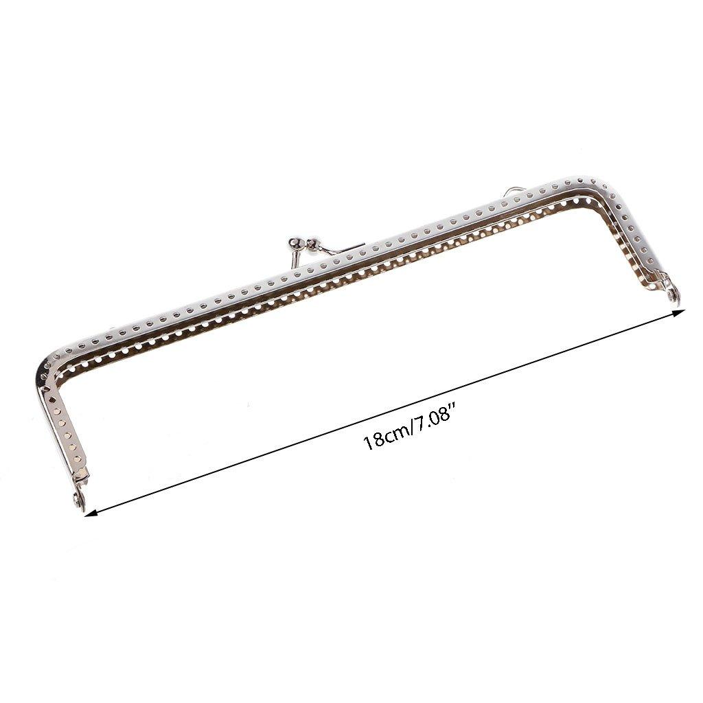 Kalttoy 1PC Square Metal Frame Kiss Clasp For Handle Bag Purse Accessories DIY 18cm