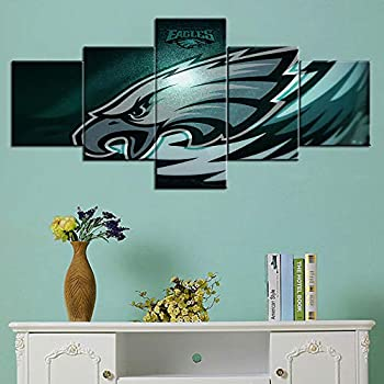 Native American Football Wall Decor Philadelphia Eagles Paintings NFL Wall Art 5 Piece Canvas Modern Artowrk Home Decor for Living Room Framed Gallery-wrapped Stretched Ready to Hang(50''Wx24''H)