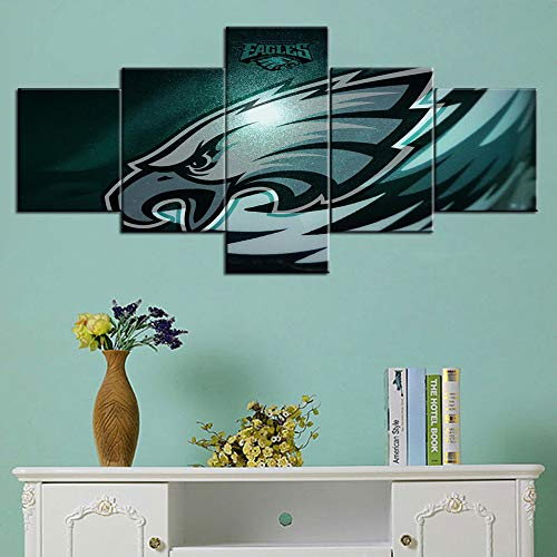 Native American Football Wall Decor Philadelphia Eagles Paintings NFL Wall Art 5 Piece Canvas Modern Artowrk Home Decor for Living Room Framed Gallery-wrapped Stretched Ready to Hang(50''Wx24''H) ()