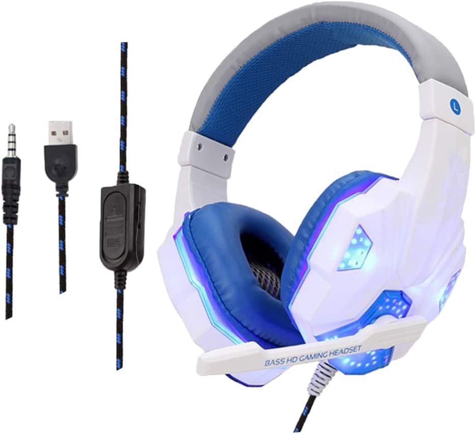 #N/A Wired LED Dual Plug Stereo Over-ear Gaming Headphone W/Mic For XBOX PC - Black Red White Blue