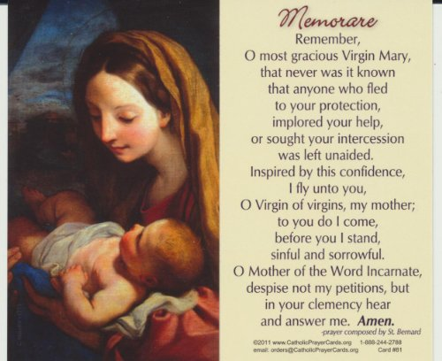 (Madonna and Child Memorare Holy Card Wallet Size Free Bookmark with Order)