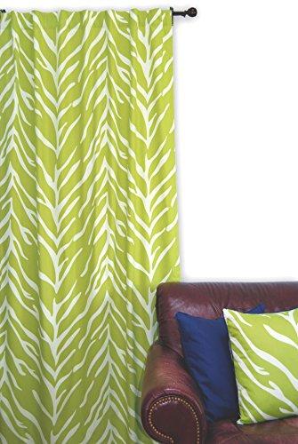 EZ Living Home H101W84CL Zebra Window Panel, Cream On Lime, 50x84,Cream on Lime,50x84