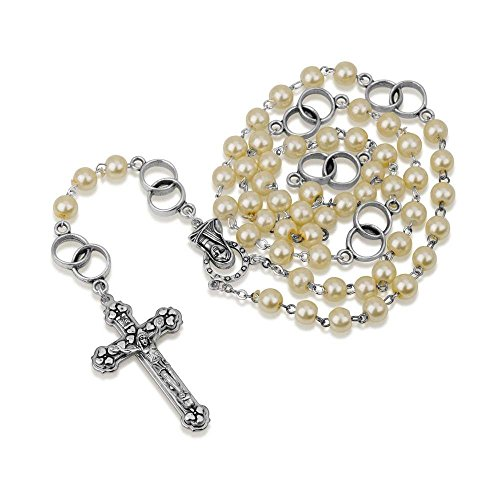 Wedding Rosary Hand Painted Pearl Glass Bead and Silver Plate Chain Necklace Rosary, Crucifix