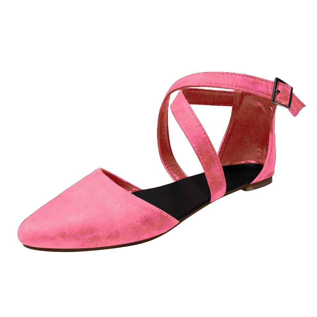 Women LiteRide Sandal,FAPIZI Ladies Pointed Toe Flat with Shoes Shallow Mouth Cross Buckle Strap Sandals Pink