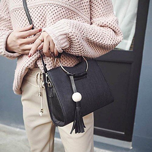 Espeedy Moda Mujeres Círculo Anillo Tote Bolsos PU Cuero borla hombro Messenger Bag negro