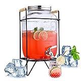 FZCRRDU KOCCAE 1 Gallon Beverage Dispenser,Clear Glass Drink Dispenser with Stainless Steel Spigot,Mason Jar Drink Dispenser with Stand and Leak Free Spigot