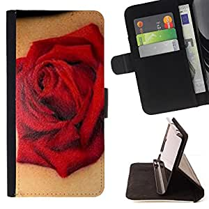 TATTOO INK ART ROSE RED BIKER LOVE SPRING/ Personalizada del estilo del dise???¡Ào de la PU Caso de encargo del cuero del tir????n del soporte d - Cao - For LG G3