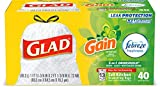 Glad Tall Kitchen Drawstring Trash Bags - OdorShield 13 Gallon White Trash Bag, Gain Original with Febreze Freshness - 40 Count