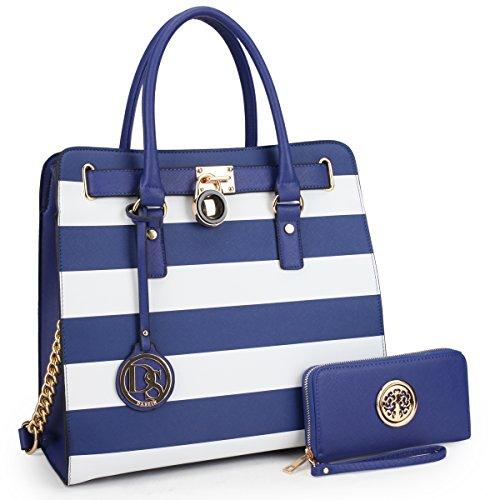 - DASEIN Fashion Top Belted Tote Satchel Designer Padlock Handbag Shoulder Bag for Women (2553w-blue stripe)