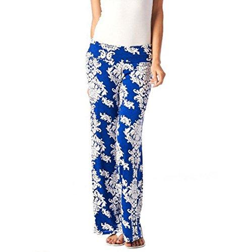 Women Pants Liraly Women Wide Leg Pants Floral Print Rayon Baggy Elastic Waistband Pants (L, - Parts Sunglasses Under Armour