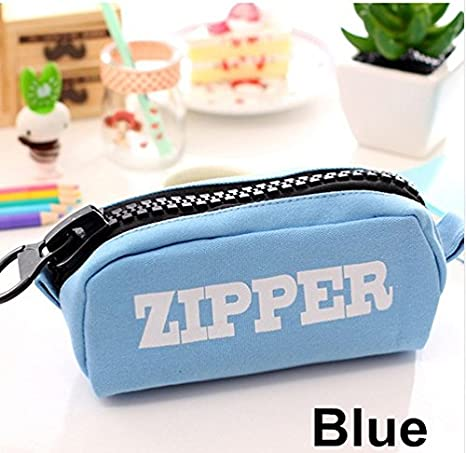 Amazon.com : Blue Big Zipper Pencil Bag Canvas Estuches ...