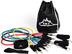 Black Mountain Products Resistance Band Set with Door Anchor, Ankle Strap, Exercise Chart, and Resistance Band Carrying Case from Black Mountain Products