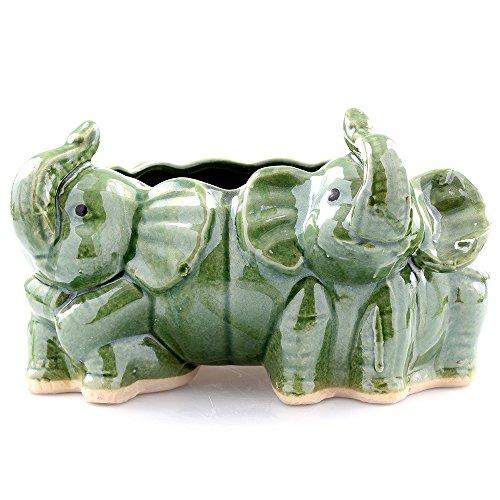 NW Wholesaler - Green Ceramic Twin Elephants Planter Pot