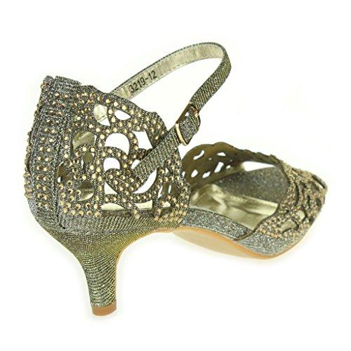 Frau Damen Offener Zeh Diamant Mid Heel Abend Hochzeit Party Sandalen Schuhe Größe Zinn