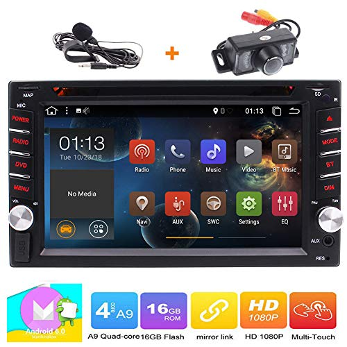 Double 2 Din Head Unit EinCar Android 6.0 Car Stereo with 6.2'' Capacitive Touch Screen In Dash Car DVD CD Player GPS Navigation WIFI 4G DVR Bluetooth Autoradio Mirrorlink FM AM RDS Radio +Rear Camera