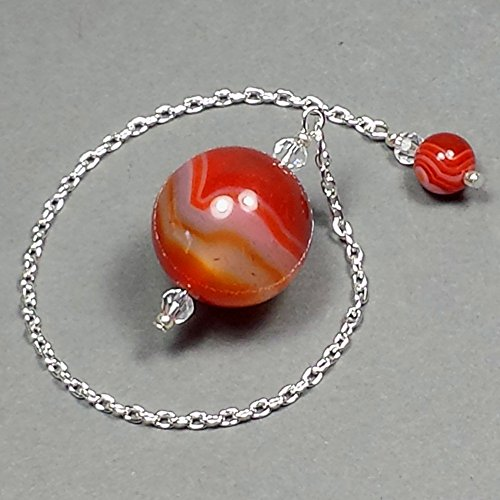 Red Banded Agate Crystal Sphere Pendulum, with Red Agate Finger Grip, SSP67 (Crystal Pendulum Finger)