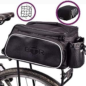 BTR Bolsa para Bici Funda Impermeable para la Lluvia de Alta Visibilidad y una Red para Paquetes + Luces Bicicleta