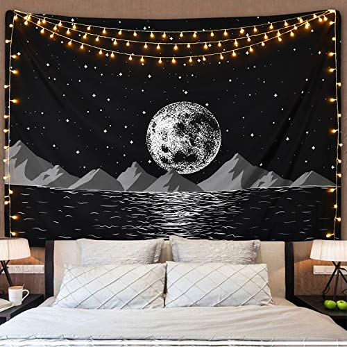 (Moon Rising Mountain Tapestry, Starry Night Sky Tapestry Space Moon Tapestry Galaxy Stars Tapestry Sea Coastal Mountain Landscape Tapestry for Living Room Bedroom)