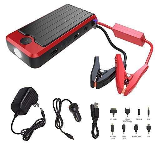 Powerall SUPREME 600A Portable 16,000 mAh Lithium V4 V6 V8 Car Jump Starter with Power Bank, LED Flashlight and Carrying Case