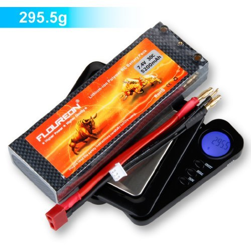 Floureon 7.4V 5200mAh High Power 2S 30C Lipo Battery with Dean-Style T Connector for RC Car Buggy Truck Truggy Drone and FPV (5.45 x 1.85 x 0.98 Inch) ()