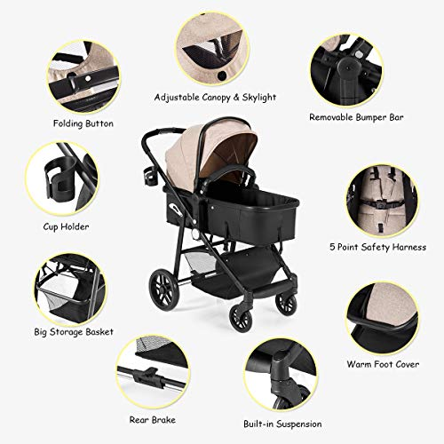 Gray Cup Holder Pushchair with Foot Cover Large Storage Space Costzon Baby Stroller 5-Point Harness 2 in 1 Convertible Carriage Bassinet to Stroller Wheels Suspension