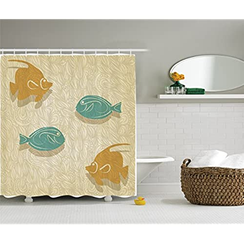 Fish And Waves Shower Curtain Set By Ambesonne, Aquarium Marine Ocean  Themed Fishing Decor, Bathroom Accessories, 69W X 70L Inches