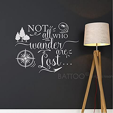 BATTOO Not all who wander are lost, Travel Wall Saying, Compass Wall Decal, Vinyl Lettering, Urban Decor Wall Art Sticker(white, - Lost Soles Vinyl