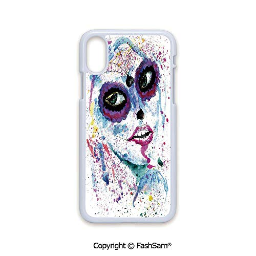 Plastic Rigid Mobile Phone case Compatible with iPhone X Black Edge Grunge Halloween Lady with Sugar Skull Make Up Creepy Dead Face Gothic Woman Artsy 2D Print Hard Plastic Phone Case]()