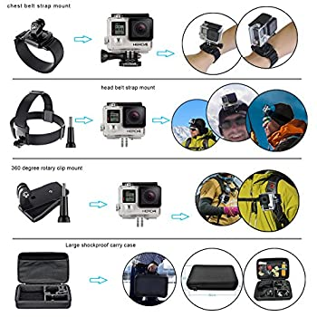 Erligpowht Action Camera Mounts For Gopro 6 Gopro Hero 5 4 3 Gopro Hero Session Sj4000 Sj5000 Akaso Apeman Xiaomi Yi Wimius Sony Sports Dv With Gopro Hero Accessories Carry Case 5