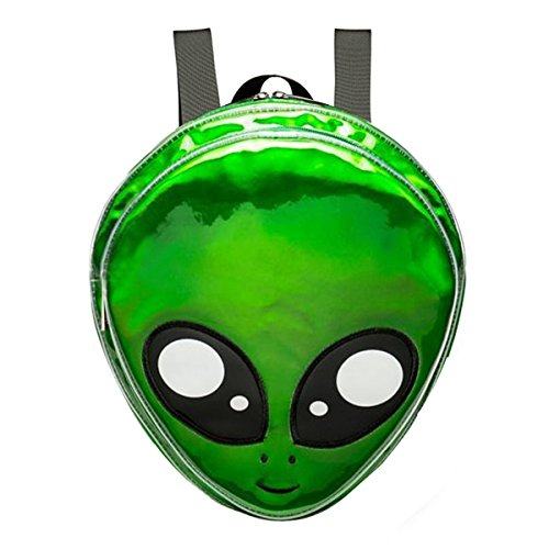- Mily Alien Logo Hologram Backpack PVC Backpack Casual Bag Green