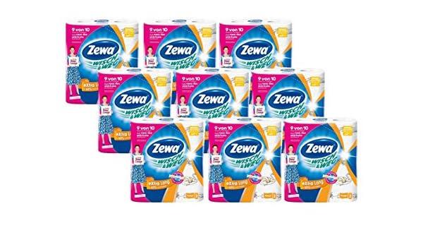 Zewa WISCH & vía Original extra largo Cocina rollo gigante Paquete 9 paquetes (2 rollos x 86 hojas), 1er Pack (1 x 9 unidades): Amazon.es: Salud y cuidado ...
