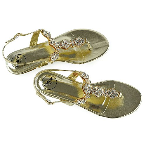 ESSEX GLAM Mujer Slingback Toe Post Diamante Metálico Fiesta Sandalia Oro Metálico