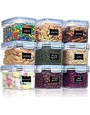 Vtopmart 0,8 L Flingbehållare för förvaring, plast BPA-fritt kök, skafferi, mjöl, förvaring, förvaring av torrfoder, set om 9 med 24 etiketter