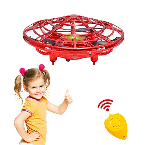 CPSYUB Hand Operated Mini Drone, Hands Free Flying Heli Ball 360° Rotating with LED Lights for Kids, Easy Indoor Small Orb Flying Ball Drone for 3, 4, 5, 6, 7, 8, 9 Years Old Boys and Girls (Red)