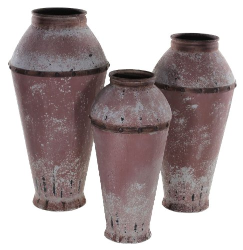 Essentials Décor Entrada Collection 3-Piece Metal Vase, 18 by 18 by 35-Inch ()