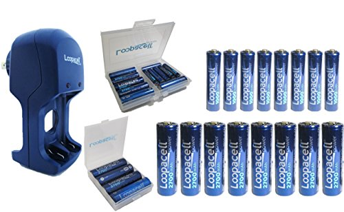 16 Pack High-Capacity Rechargeable Batteries with Cases and Charger - (8) AA 2700mAh (8)AAA 1000mAh Rechargeable Batteries with Battery Case and Battery Holder plus Charger