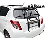 High Mount Rear Bicycle Rack - Protects Your Bikes - Holds 3 Bicycles - Support Rails - Front Wheel is Secured with Support Bracket and Adjustable Strap - Made in Italy