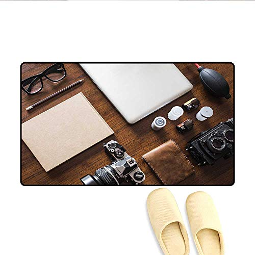 Door-mat Professional Set Up for Photographers Designers Work Place Equipment on Table Bath Mats for Floors Brown Beige Black -