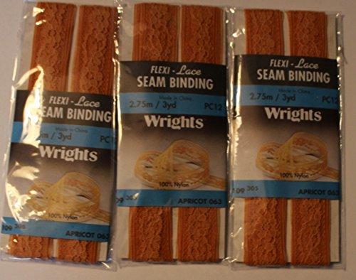 Flexi - Lace Seam Binding Apricot 3 Packs (Flexi Lace Seam Binding)