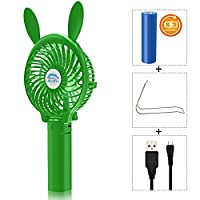 Portable Battery USB Mini Foldable Cooling Desktop Fan for Home Office Camping Travel (Rechargeable,Handheld,Umbrella Hanging,Baby Fan) (Bunny-gree