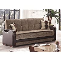 BEYAN Rochester Collection Convertible Folding Sofa Sleeper Bed with Storage Space, Includes 2 Pillows, Brown