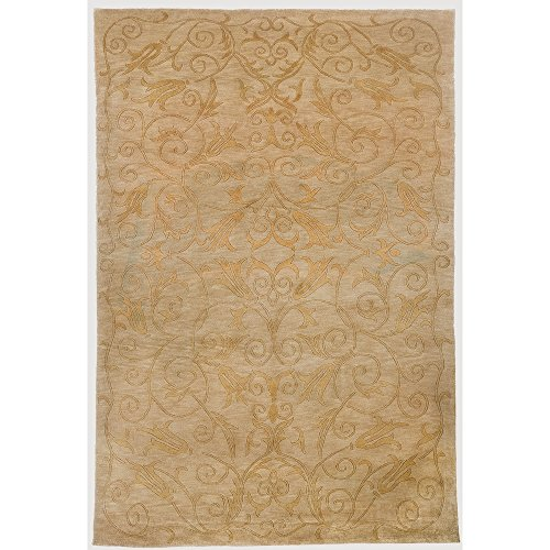 (Safavieh Tibetan Collection TB317B Hand-Knotted Green and Gold Silk & Wool Area Rug (6' x 9'))