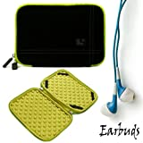 Black with Green Trim Smart Aero Protection Design Slim Soft Suede Cover Carrying Sleeve Case with Extra Accessory Back Pocket for Amazon Kindle (Wi-Fi, 6'' E ink Display) + Includes a Crystal Clear HD Noise Filter Ear buds Earphones Headphones ( 3.5mm Jac