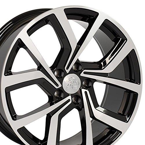 Wheel Vw Golf Rim (OE Wheels 18 Inch Fits Volkswagen GTI Jetta EOS CC Tiguan Rabbit Passat Golf Beetle GTI Style Offset 42mm VW29 Gloss Black Machined 18x8 Rim)